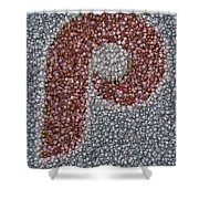 Philidelphia Phillies Baseballs Mosaic Shower Curtain by Paul Van Scott