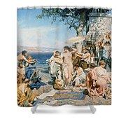 Phryne At The Festival Of Poseidon In Eleusin Shower Curtain by Henryk Siemieradzki