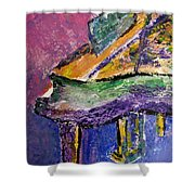Piano Purple - Cropped Shower Curtain by Anita Burgermeister