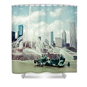 Picture Of Buckingham Fountain With Chicago Skyline Shower Curtain by Paul Velgos
