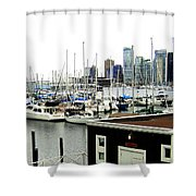 Picturesque Vancouver Harbor Shower Curtain by Will Borden