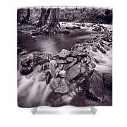 Pigeon Forge River Great Smoky Mountains Bw Shower Curtain by Steve Gadomski