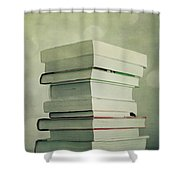 Piled Reading Matter Shower Curtain by Priska Wettstein