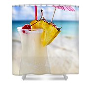 Pina Colada Cocktail On The Beach Shower Curtain by Elena Elisseeva
