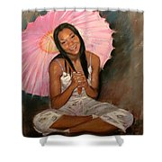 Pink And Brown Shower Curtain by Ylli Haruni