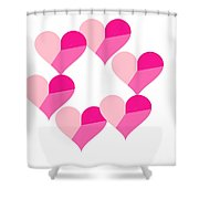 Pink Candy Hearts Shower Curtain by Michael Skinner