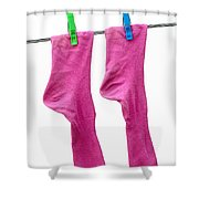 Pink Socks Shower Curtain by Frank Tschakert