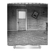 Pioneer Home Interior - Nevada City Ghost Town Montana Shower Curtain by Daniel Hagerman
