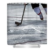 Player And Puck Shower Curtain by Karol Livote