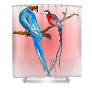 Playing Footsie Shower Curtain by Miki De Goodaboom