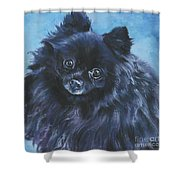 Pomeranian black Shower Curtain by Lee Ann Shepard