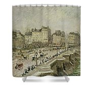 Pont Neuf Snow Effect Shower Curtain by Camille Pissarro