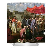 Pope Clement Xi In A Procession In St. Peter's Square In Rome Shower Curtain by Pier Leone Ghezzi