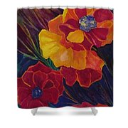Poppies Shower Curtain by Carolyn LeGrand
