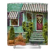 Porch - Westfield Nj - Welcome Friends Shower Curtain by Mike Savad