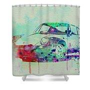 Porsche 911 Watercolor 2 Shower Curtain by Naxart Studio