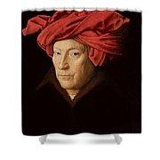 Portrait Of A Man Shower Curtain by Jan Van Eyck