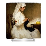 Portrait Of A Nurse From The Red Cross Shower Curtain by Gabriel Emile Niscolet