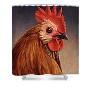 Portrait of a Rooster Shower Curtain by James W Johnson