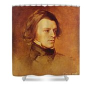 Portrait Of Alfred Lord Tennyson Shower Curtain by Samuel Laurence