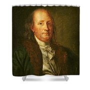 Portrait Of Benjamin Franklin Shower Curtain by George Peter Alexander Healy