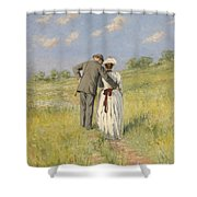 Portrait Of Captain William Holmes And Mary Shafter Mckitterick Shower Curtain by American School