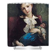 Portrait Of Catherine Du Bouchage Shower Curtain by Antoine Auguste Ernest Hebert