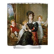 Portrait Of Elizabeth Lea And Her Children Shower Curtain by John Constable