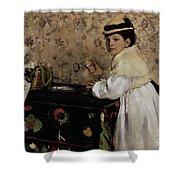 Portrait of Hortense Valpincon as a Child Shower Curtain by Edgar Degas