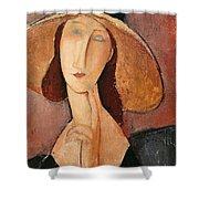 Portrait of Jeanne Hebuterne in a large hat Shower Curtain by Amedeo Modigliani