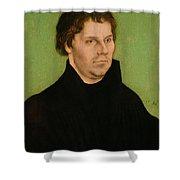 Portrait Of Martin Luther Shower Curtain by Lucas Cranach the Elder