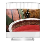 Pottery Abstract Shower Curtain by Ben and Raisa Gertsberg