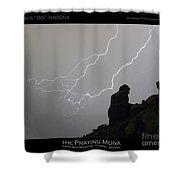 Praying Monk Lightning Striking Poster Print Shower Curtain by James BO  Insogna