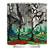 Primary Forest Shower Curtain by Nadine Rippelmeyer