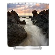 Primordial Tides Shower Curtain by Mike  Dawson