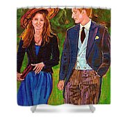 Prince William And Kate The Young Royals Shower Curtain by Carole Spandau