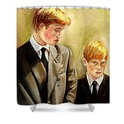 Prince William And Prince Harry Shower Curtain by Carole Spandau