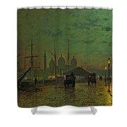 Prince's Dock Hull Shower Curtain by John Atkinson Grimshaw