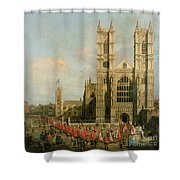 Procession Of The Knights Of The Bath Shower Curtain by Canaletto