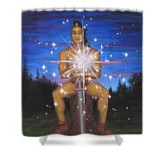 Protector Of The Mystical Forest Shower Curtain by Roz Eve