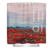 Provence Poppies Shower Curtain by Nadine Rippelmeyer