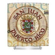 Puerto Rico Coat Of Arms Shower Curtain by Debbie DeWitt