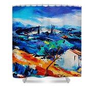Purple Hills Shower Curtain by Elise Palmigiani