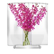 Purple Orchid In Vase Shower Curtain by Atiketta Sangasaeng
