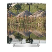 Pyrimids By The Lakeside Cache Shower Curtain by Rob Hans