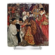 Queen Mary and Princess Elizabeth entering London Shower Curtain by John Byam Liston Shaw