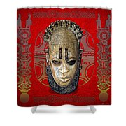 Queen Mother Idia - Ivory Hip Pendant Mask - Nigeria - Edo Peoples - Court Of Benin On Red Leather Shower Curtain by Serge Averbukh