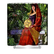 Queen Of Pentacles Shower Curtain by Tammy Wetzel