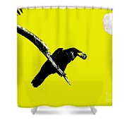 Quoth The Raven Nevermore . Yellow Shower Curtain by Wingsdomain Art and Photography
