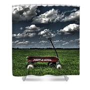 Radio Flyer Shower Curtain by Jane Linders